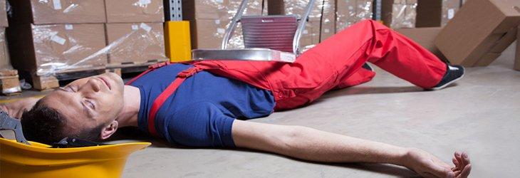 worker on floor having fallen from height