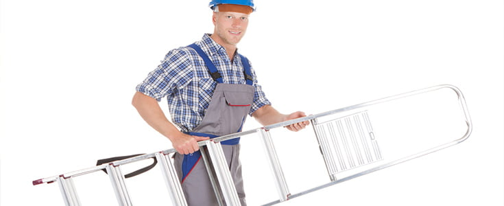 man carrying ladders