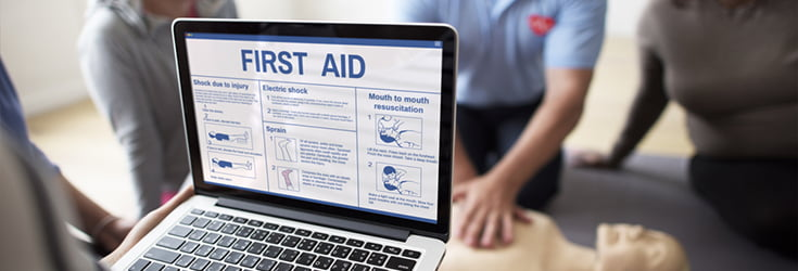 first aid on laptop